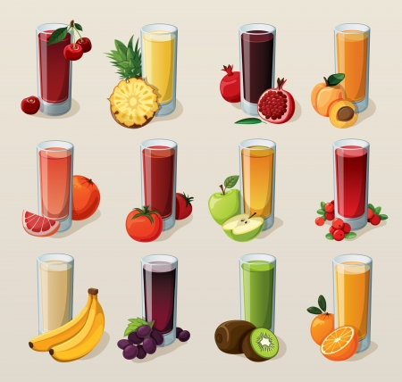 pineapple juice: Set of tasty fresh squeezed juices   Illustration