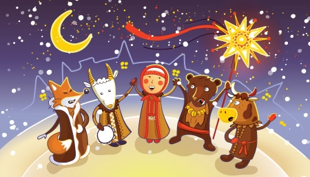 Celebration of traditional Belorussian winter holiday Kalyadi  Vector