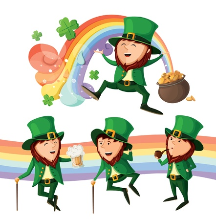 irish culture: Set of cute leprechauns  Isolated on white background   Illustration