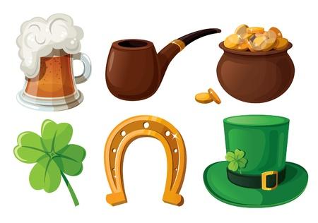 Set of St  Patrick s Day icons  Isolated on white background   Çizim