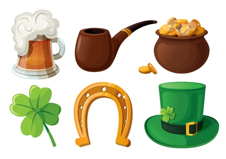 Set of St  Patrick s Day icons  Isolated on white background   Vector