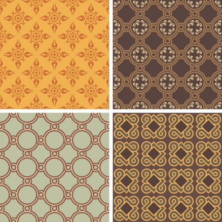 Collection of four decorative symmetric seamless patterns  Illustration