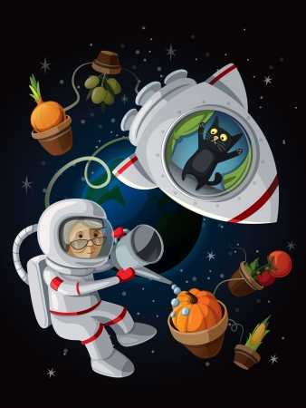 astronauts: Granny astranaut watering vegetables in the open space.