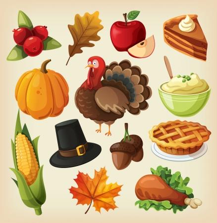 pie de manzana: Conjunto de iconos coloridos de la historieta para el día de acción de gracias.