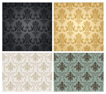 papier peint noir: Seamless damask wallpaper. Illustration