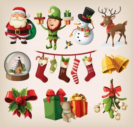 reindeer: Conjunto de coloridos personajes de navidad y decoraciones