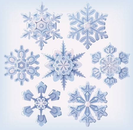 3 dimensional: Set of ornate three dimensional snowflakes icons. Illustration