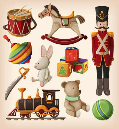 train cartoon: Set of colourful vintage christmas toys for kids.