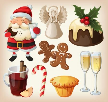 weihnachtskuchen: Set festeve Speisen und Dekorationen für Weihnachten Tisch Illustration
