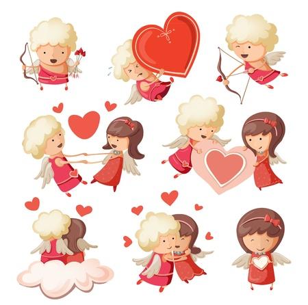 Set of cute boy and girl cupids. Çizim