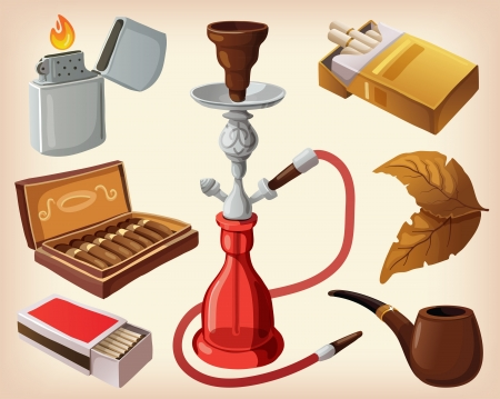 vintage cigar: Set of traditional smoking devices  Illustration