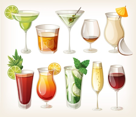 Collection of alcohol coctails and other drinks  Ilustração
