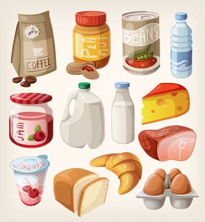 ham: Collection of food and products that we buy or eat every day