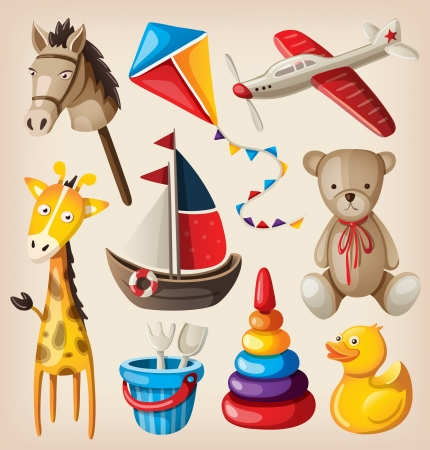 Set of colorful vintage toys for kids. Stock Illustratie