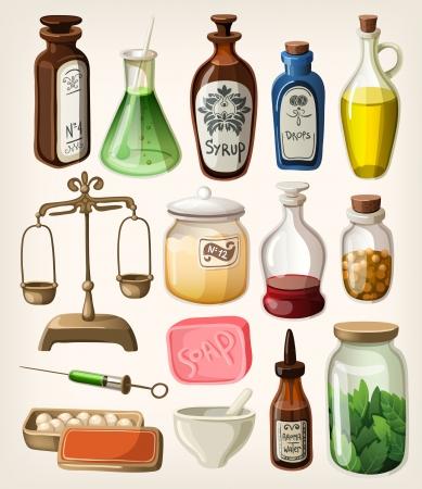 boticário: Conjunto de fontes de boticário e médico do vintage