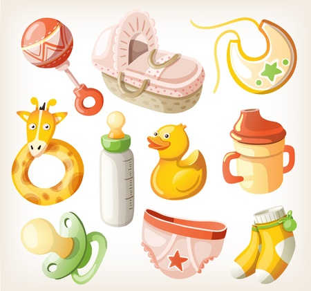 cradle: Set of design elements for baby shower.  Illustration