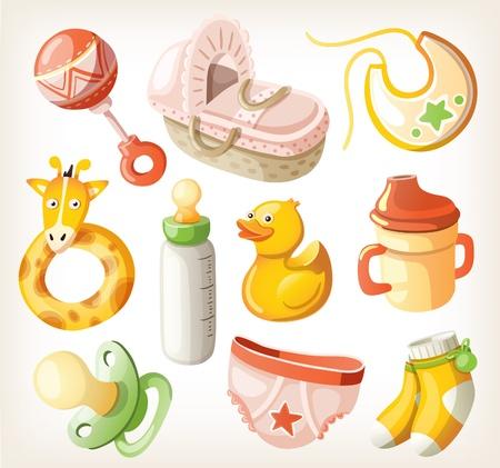 baby bottle: Set of design elements for baby shower.  Illustration