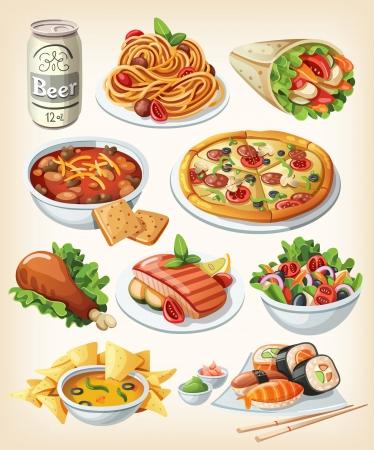 comida chatarra: Conjunto de iconos de los alimentos tradicionales.