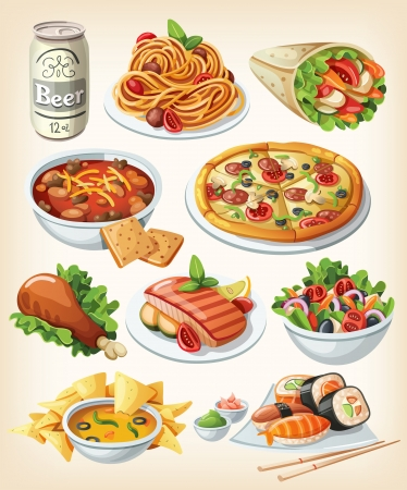 cartoon food: Set of traditional food icons.