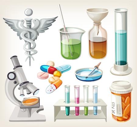 doctor dibujo animado: Conjunto de materiales utilizados en farmacología para la preparación de la medicina. Vectores