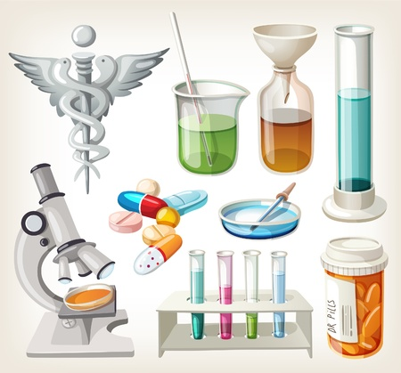 apothecary: Set of supplies used in pharmacology for preparing medicine. Illustration