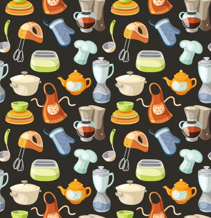 Seamless pattern with kitchen tools and cooking icons. Vector