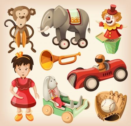 muneca vintage: Conjunto de coloridos juguetes de �poca para los ni�os Vectores