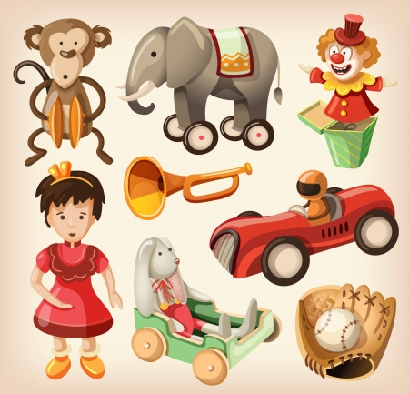 for kids: Set of colorful vintage toys for kids