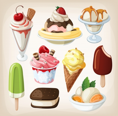 cartoon strawberry: Set of colorful tasty isolated ice cream  Illustration
