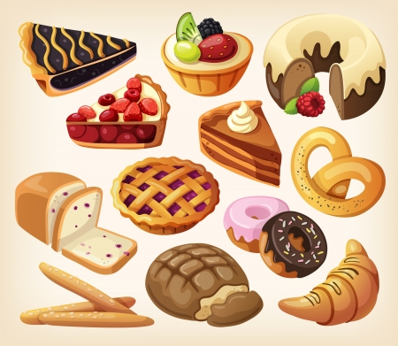 cherry pie: Set of pies and flour products from bakery or pastry shop Illustration