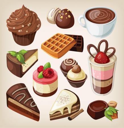 waffles: Conjunto de dulces de chocolate, pasteles y otros alimentos de chocolate