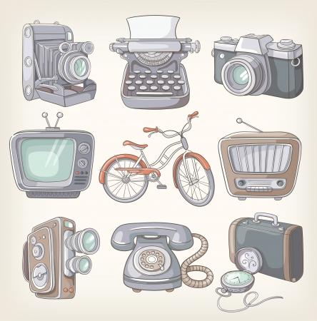 articulos oficina: Conjunto de elementos de iconos de la vendimia Vectores