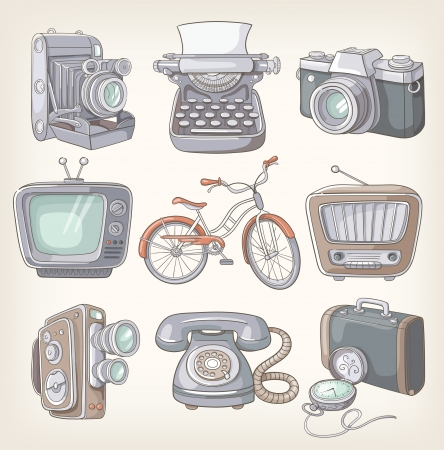 Set of vintage items icons