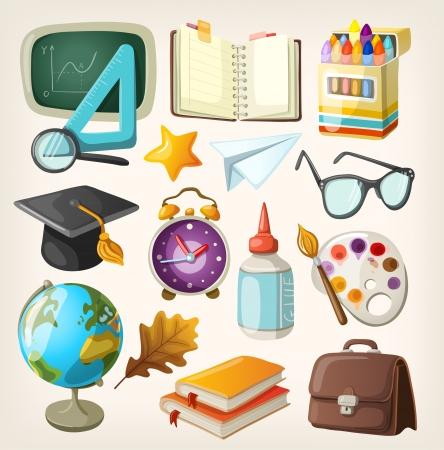 utiles escolares: Conjunto de elementos escolares Volver a la escuela Vectores