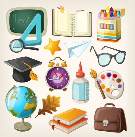 back icon: Set of school items  Back to school