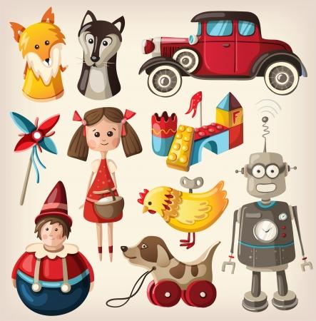 子供のためのカラフルなビンテージのクリスマスのおもちゃセット