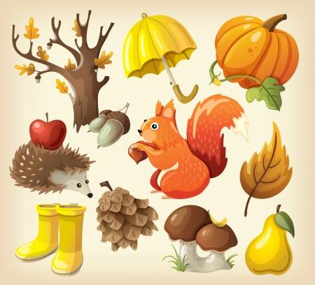 manzana caricatura: Conjunto de elementos y objetos que representan oto�o
