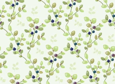 blackberries: Tiled pattern with blueberry bushes Illustration
