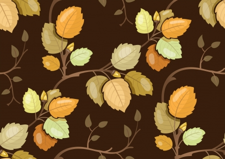 ligature: Repeating pattern with swirling branches with autumn leaves Illustration