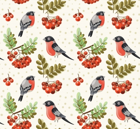 Seamless autumn and winter pattern with bullfinch and rowan branches Vector