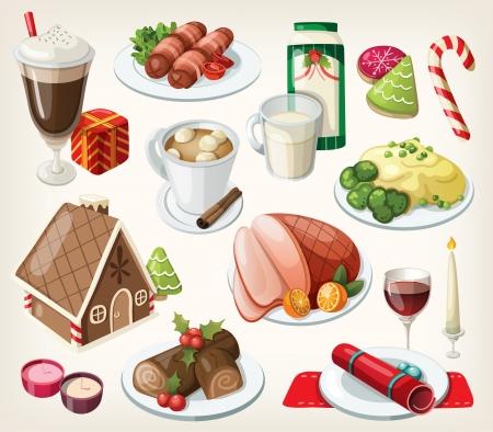 伝統的なクリスマス料理とデザートのセット  イラスト・ベクター素材