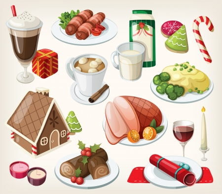 Set of traditional christmas food and desserts Vectores