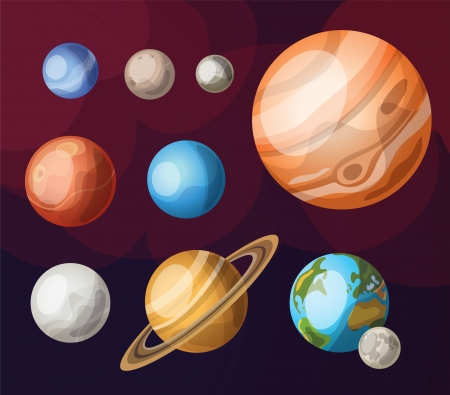 太陽系の惑星のセット  イラスト・ベクター素材