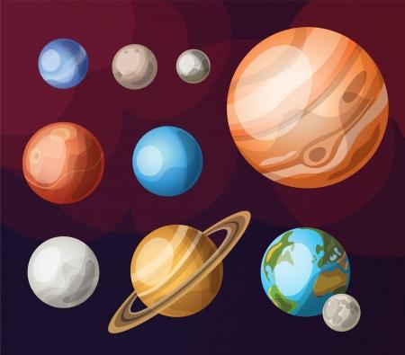 Set of planets of solar system Illustration