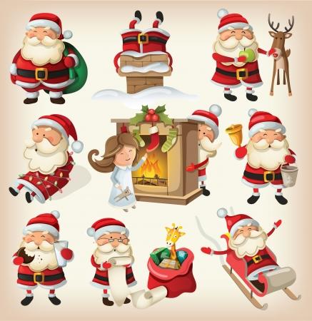 renos de navidad: Conjunto de Santa Claus listo para la Navidad