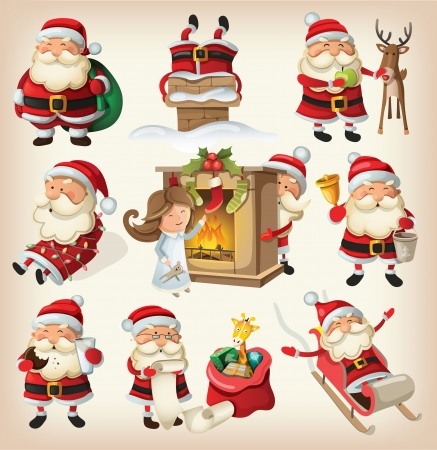 fireplace: Set of Santa Clauses ready for christmas