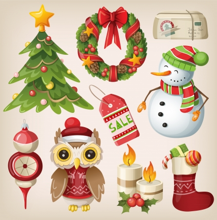 Set of christmas items and characters Vector