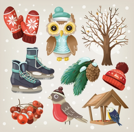 Set of winter items and elements