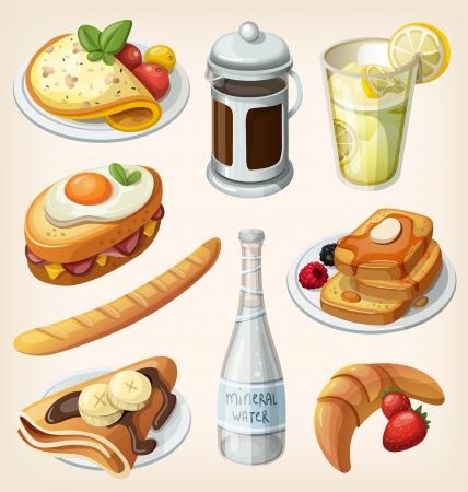 tentempi�: Conjunto de elementos de desayuno tradicional franc�s y platos Vectores