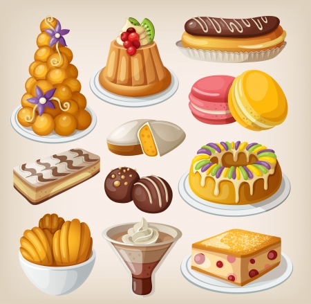 Set of traditional french desserts Stock Illustratie